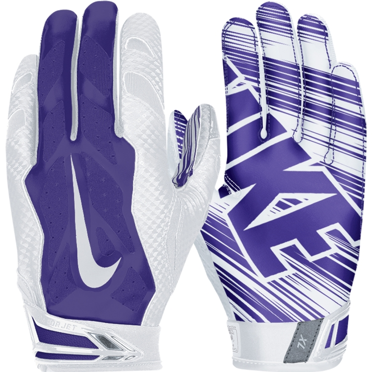 purple and gold football gloves